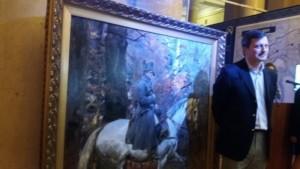 Nicolas Walewski przed obrazem W. Kossaka - fot. Roman Soroczyński